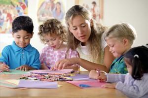 teacher with prek children