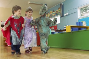 PreK children playing dress-up
