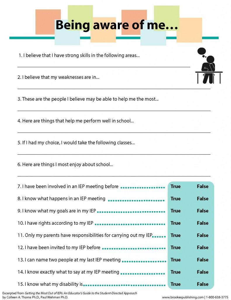 self-awareness questionnaire