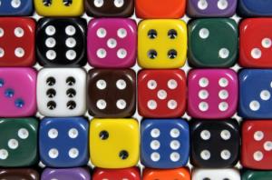 multi colored dice