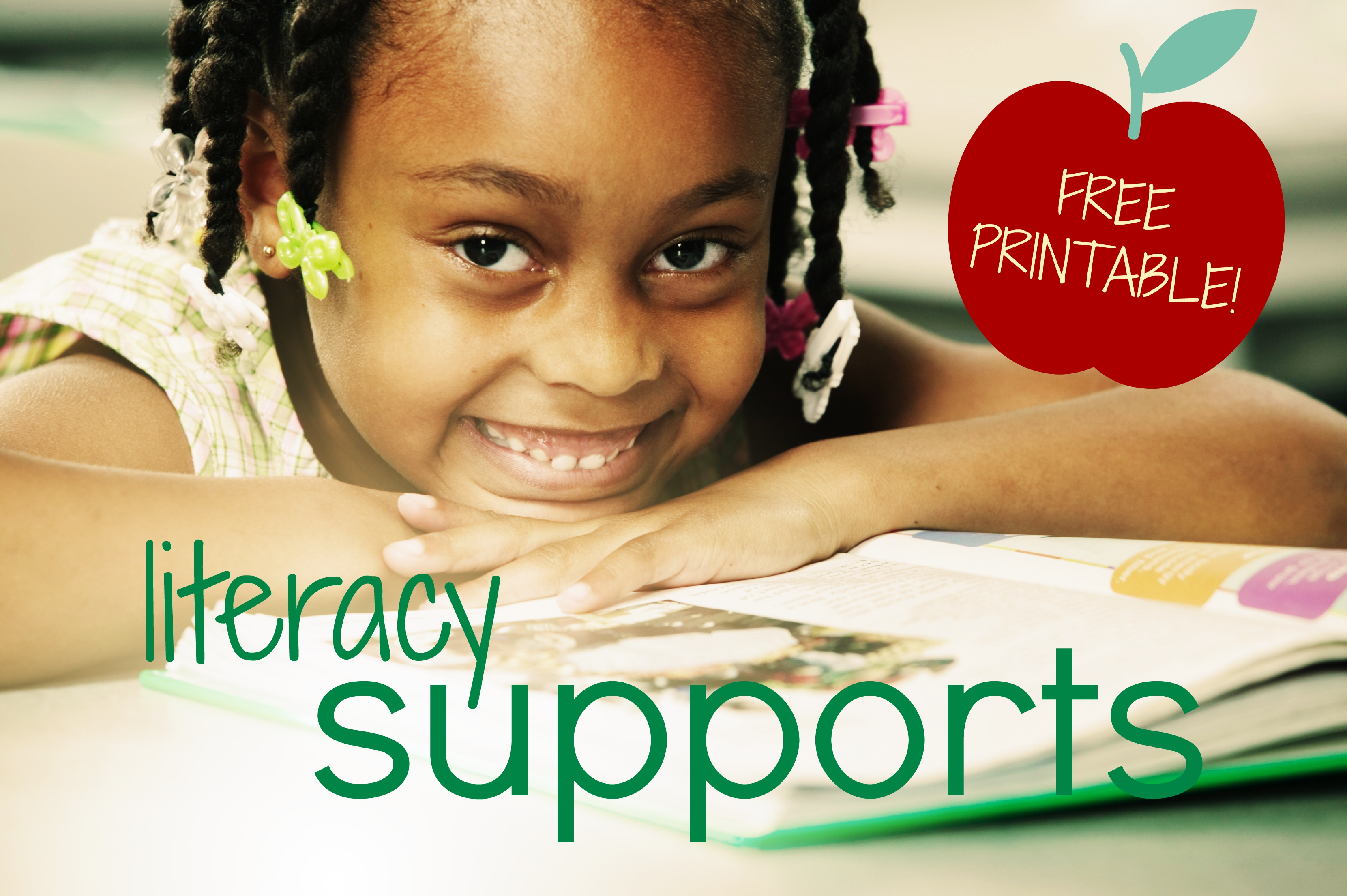 literacy support free printable smiling girl