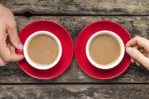 two red coffe cups