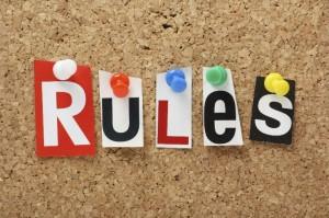 rules on corkboard