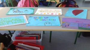 student-made antibullying signs