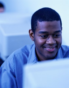 african american man at computer