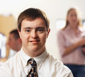 man with down syndrome office
