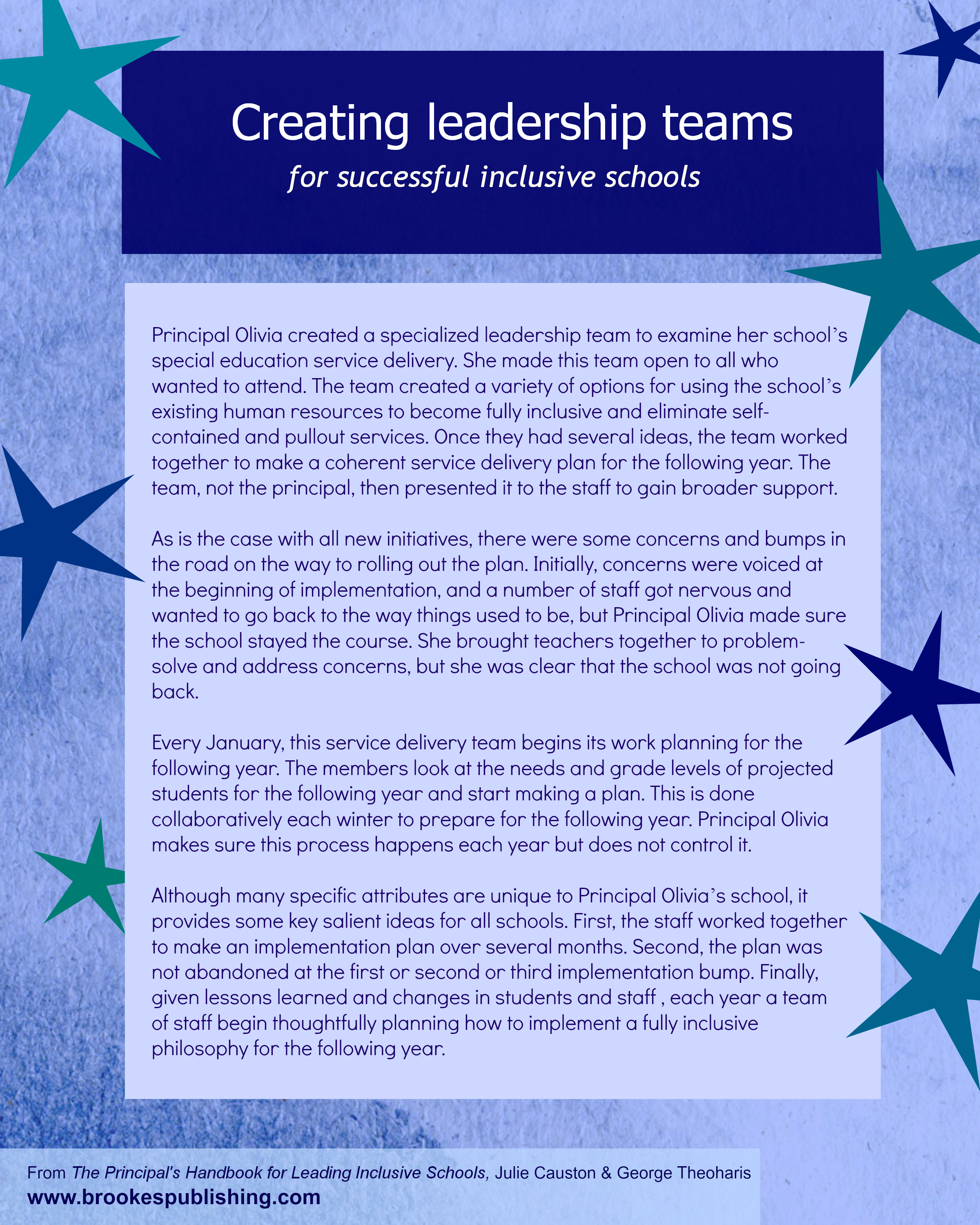 creating leadership teams for successful inclusive schools