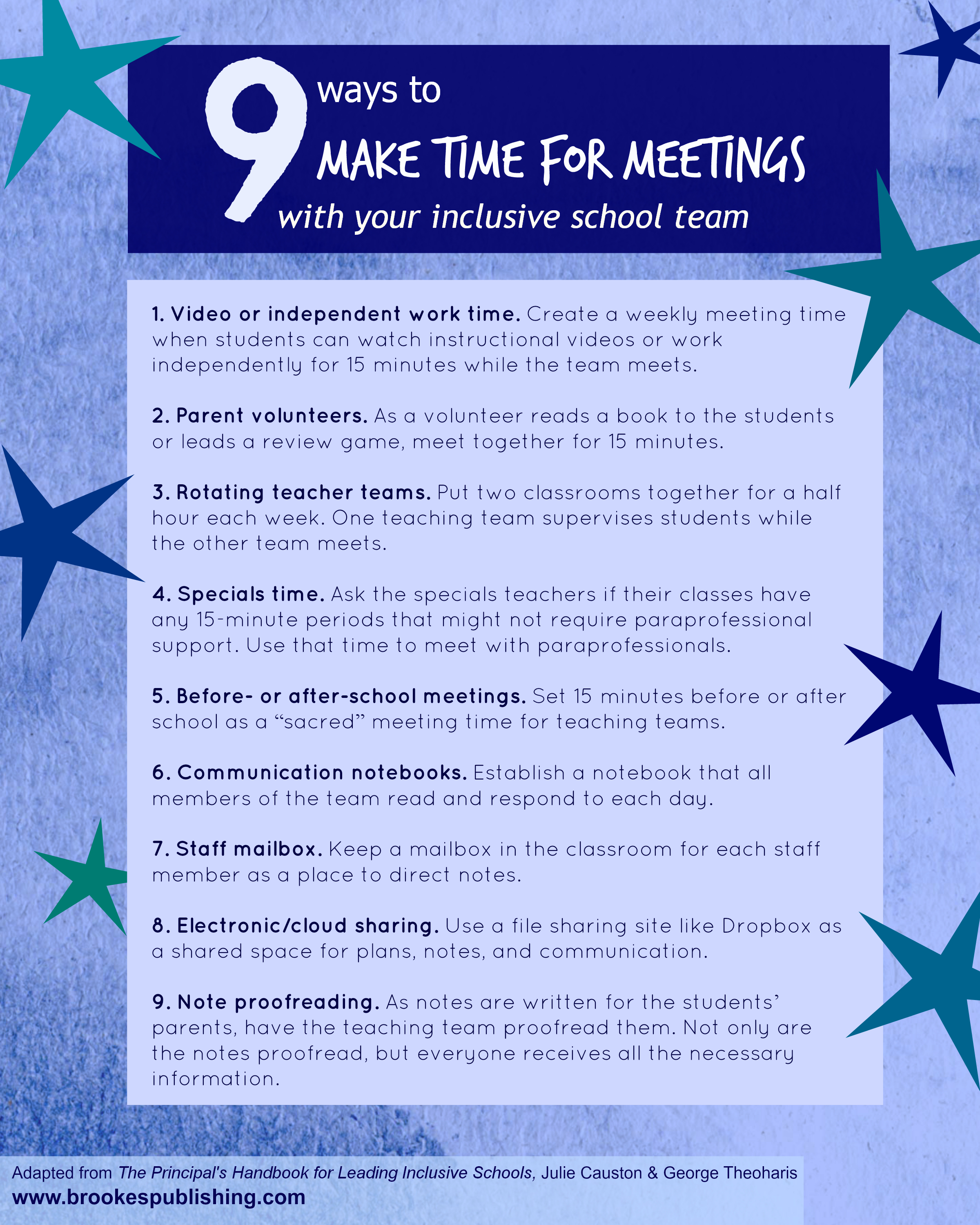 9 ways to make time for meetings with your inclusive school team