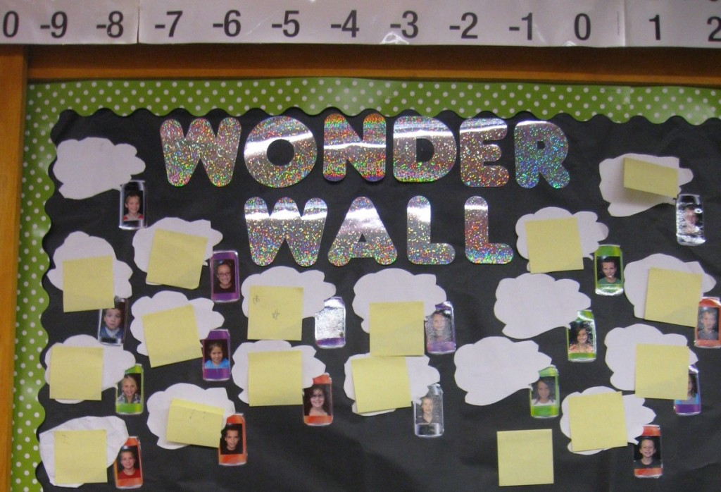 Kelly uses different ways for student to reflect on lessons or skills they are learning in class. The Wonder Wall was implemented as a way to allow students to ask questions in a non-threatening manner. Kelly can answer the questions in different ways, but knows at a glance who may need some support with the higher level thinking skill of creating a question. Kelly also can use the Wonder Wall as a reflection tool.