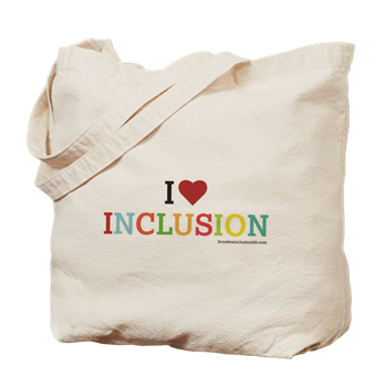 I heart inclusion tote bag