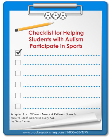 checklist students with autism play sports