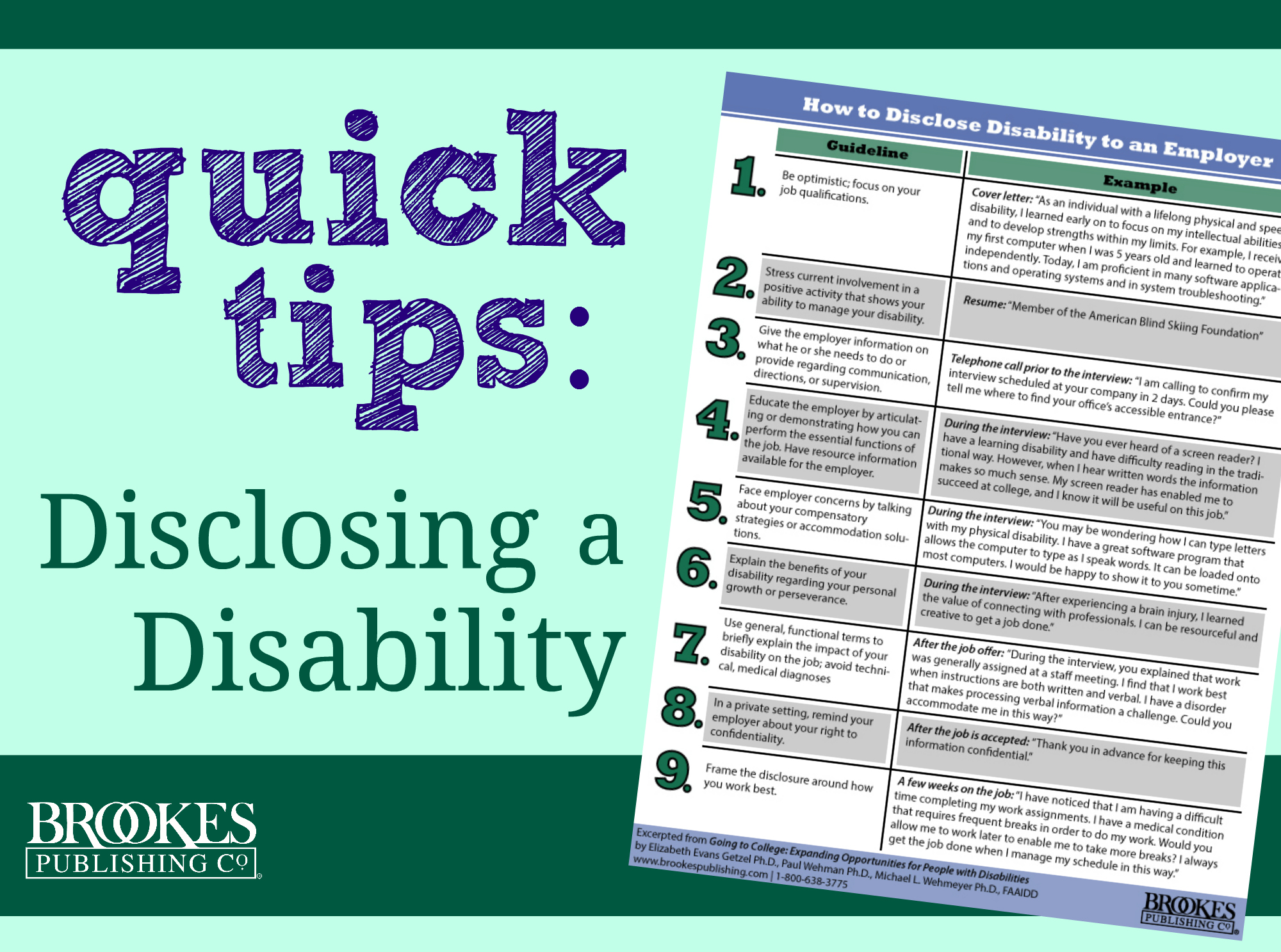 Inclusion QuickTips: Disclosing a Disability