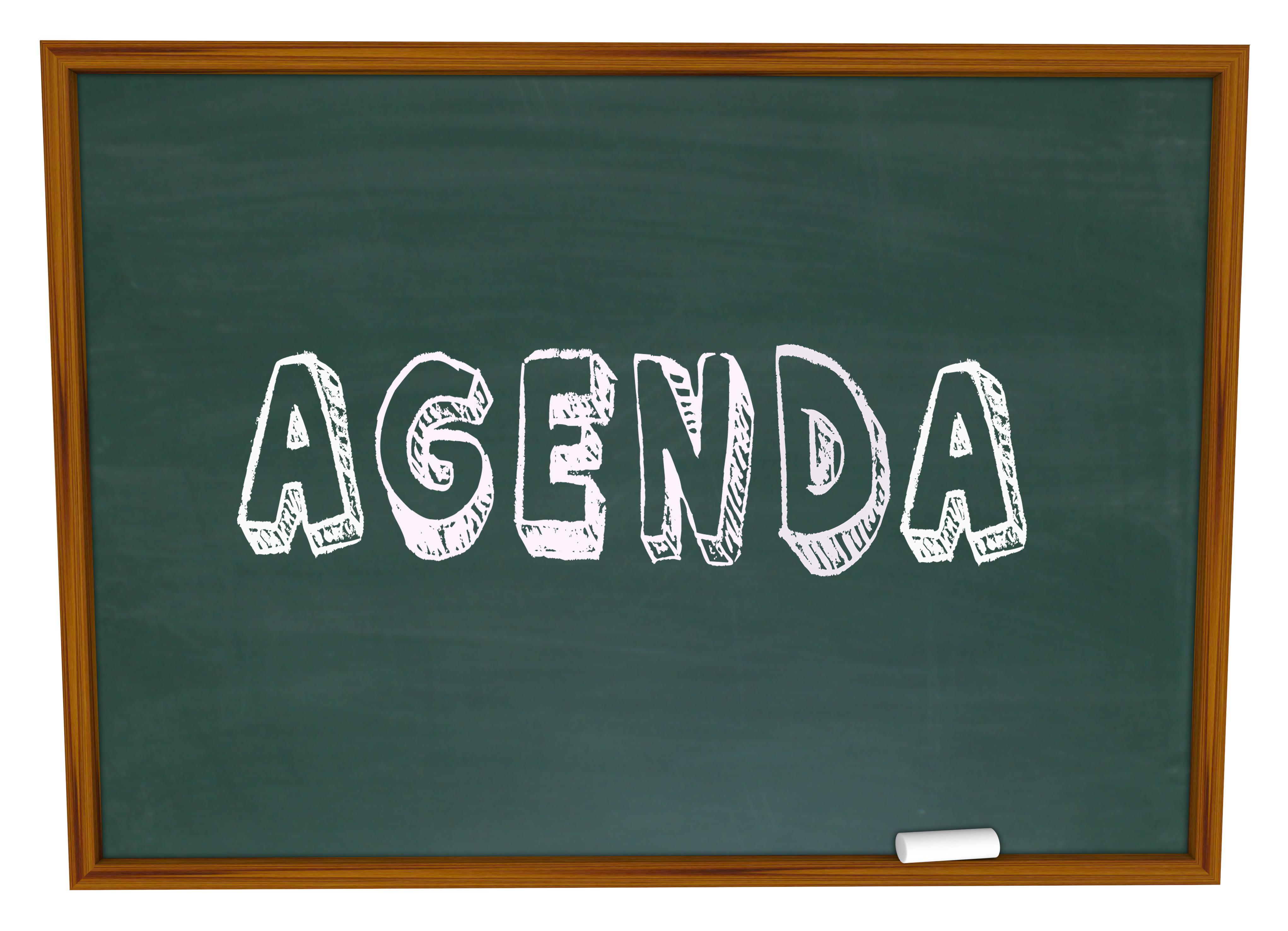 daily school agenda chalkboard